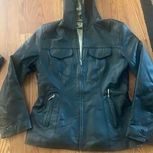 Newport News leather jacket with hood size small
